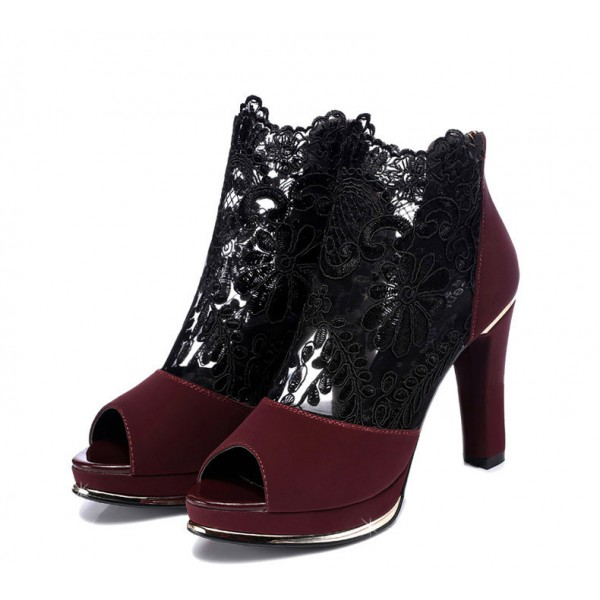 Women's Claret Red Chunky Heels Peep Toe Lace Sexy Ankle Booties image 2