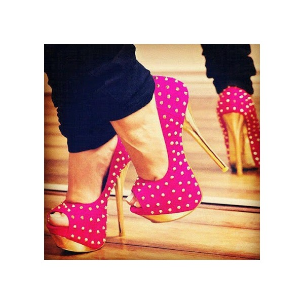 Hot Pink and Gold Stripper Heels Peep Toe Studded Pumps for ...