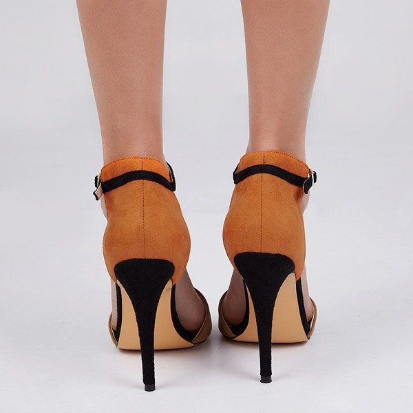 Khaki and Orange Ankle Strap Sandals Open Toe Suede High Heels image 4