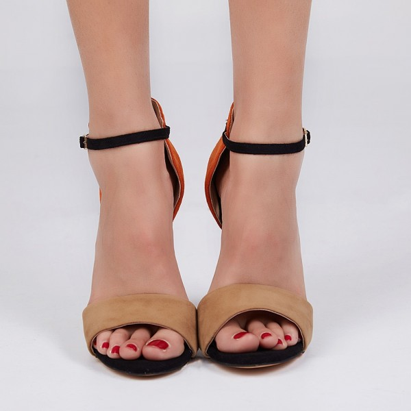 Khaki and Orange Ankle Strap Sandals Open Toe Suede High Heels image 3