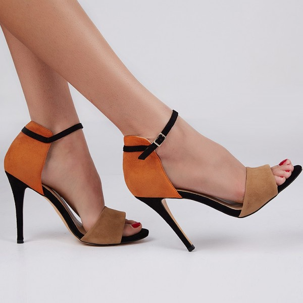 Khaki and Orange Ankle Strap Sandals Open Toe Suede High Heels image 2