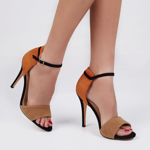 Khaki and Orange Ankle Strap Sandals Open Toe Suede High Heels image 5