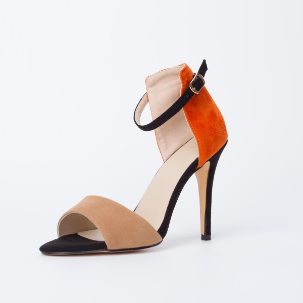Khaki and Orange Ankle Strap Sandals Open Toe Suede High Heels image 6