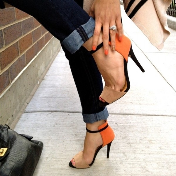 Khaki and Orange Ankle Strap Sandals Open Toe Suede High Heels image 7