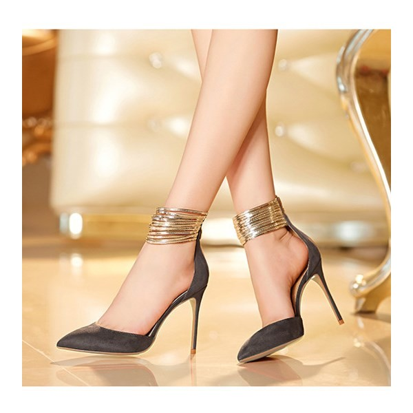 Grey and Gold Stiletto Heels Ankle Strap Closed Toe Sandals image 1