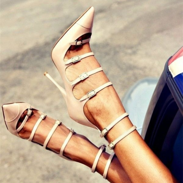 Blush Gladiator Heels Pointy Toe Buckles Stiletto Heels Pumps image 1