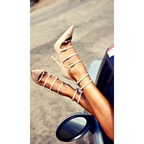 Blush Gladiator Heels Pointy Toe Buckles Stiletto Heels Pumps image 2