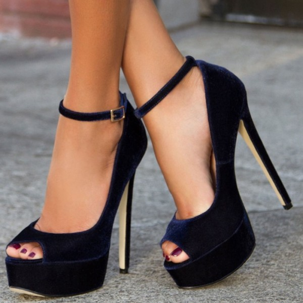 Navy Velvet Heels Peep Toe Ankle Strap Pumps with Platform image 1