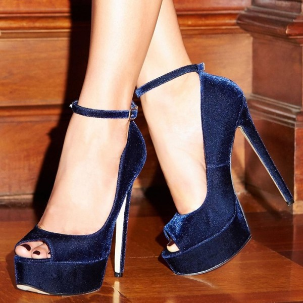 Navy Velvet Heels Peep Toe Ankle Strap Pumps With Platform