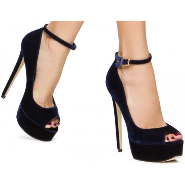 Navy Velvet Heels Peep Toe Ankle Strap Pumps with Platform image 2