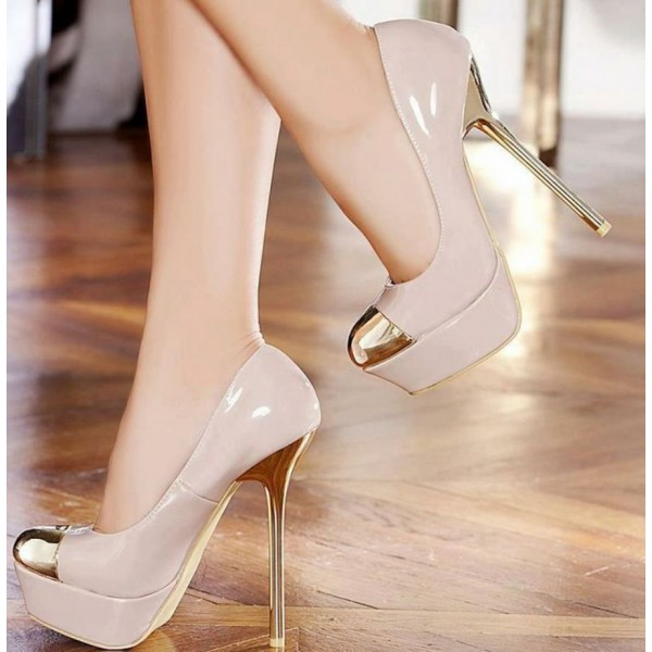 Women's Blush Gold Heels Dress Shoes Metal Toe Nude Platform Stiletto Heels Pumps image 1