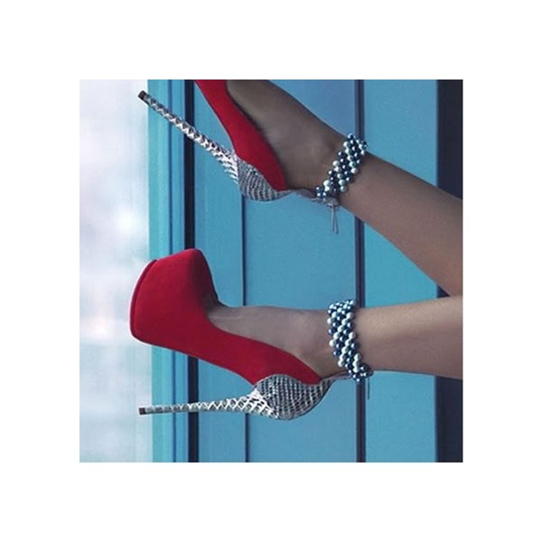 Red and Silver Stripper Heels Beads Ankle Strap Platform Pumps image 1