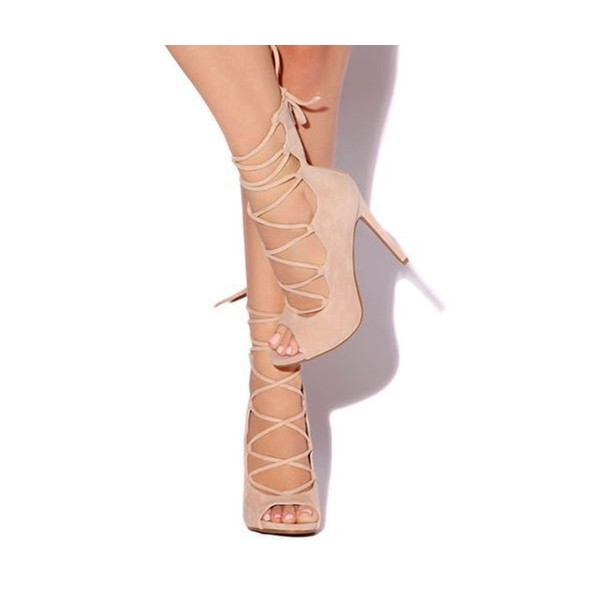 Beige Strappy Heels Open Toe Suede Stiletto Heels Pumps image 1