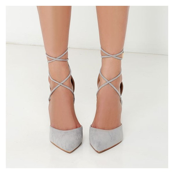 Grey Strappy Heels Closed Toe Stiletto Heel Pumps Suede Shoes image 2