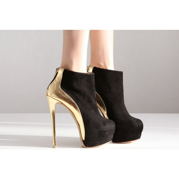 Black and Gold Platform Boots Stiletto Heel Fashion Ankle Boots image 4