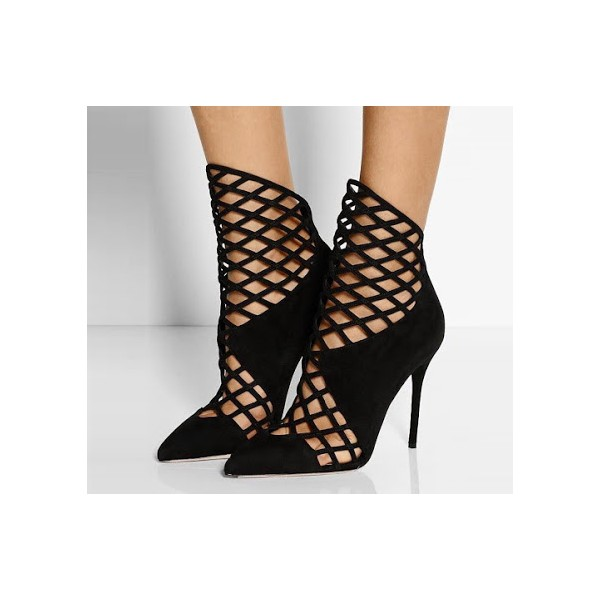 Black Caged Cut out Ankle Booties Pointy Toe Stilettos Summer Boots image 1