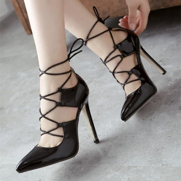 Black Strappy Heels Pointy Toe Lace-up Stilettos Pumps image 1