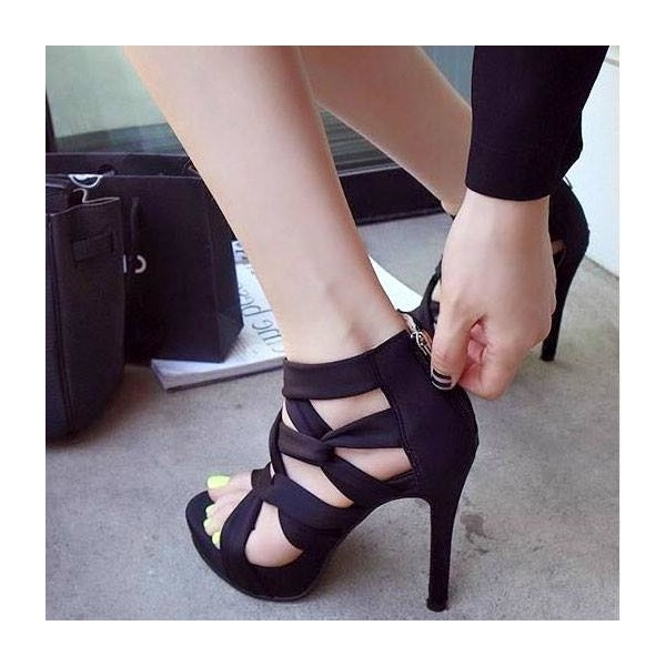 Women's Black Strappy Stiletto Heels Open Toe sandals image 1