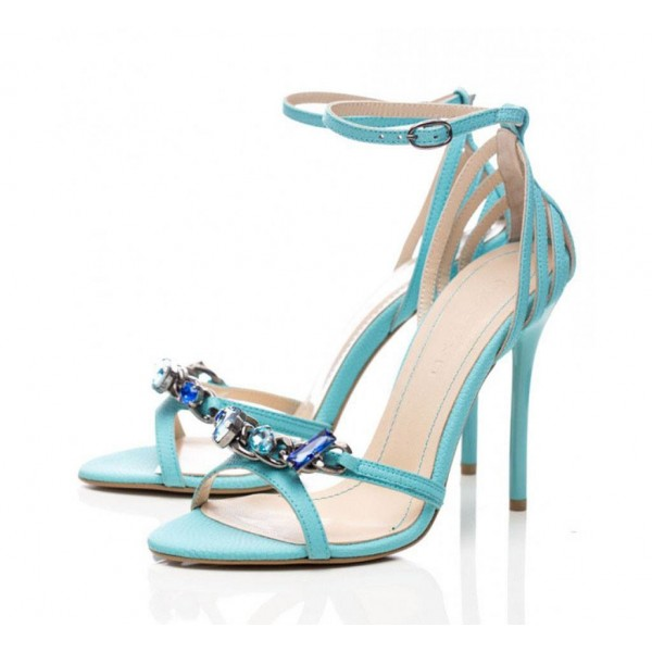 Turquoise Heels Ankle Strap Rhinestone Sandals Stiletto Heels image 1