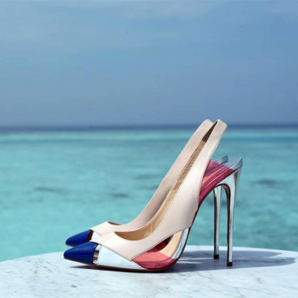 Multi-color Slingback Pumps Pointy Toe Stiletto Heels for Ladies image 1