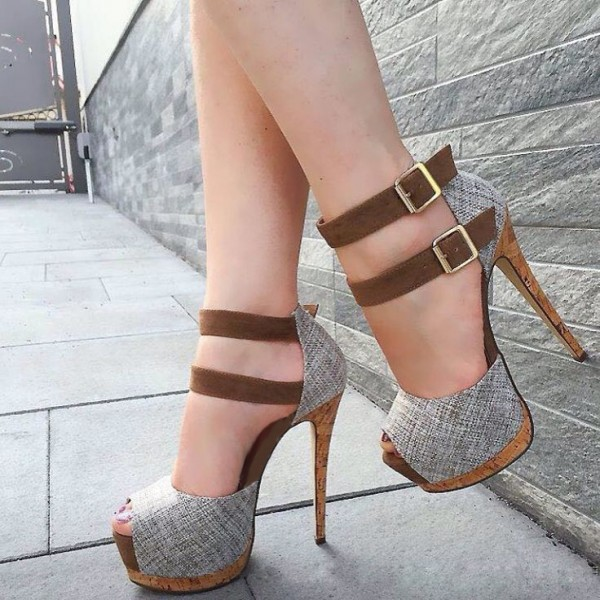 Grey Buckles Platform Heels Peep Toe Stiletto Heel Ankle Strap Sandals image 1