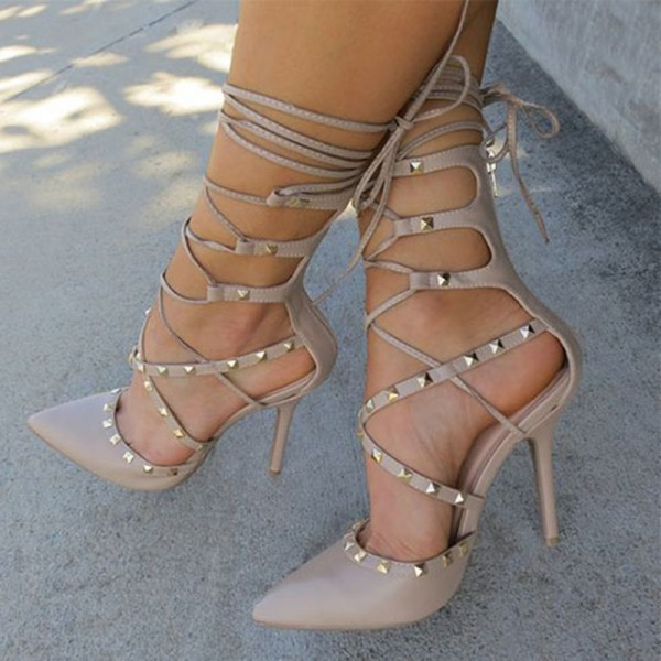 Nude Strappy Heels Pointed Toe Rivets Shoes Stiletto Heels Pumps image 1