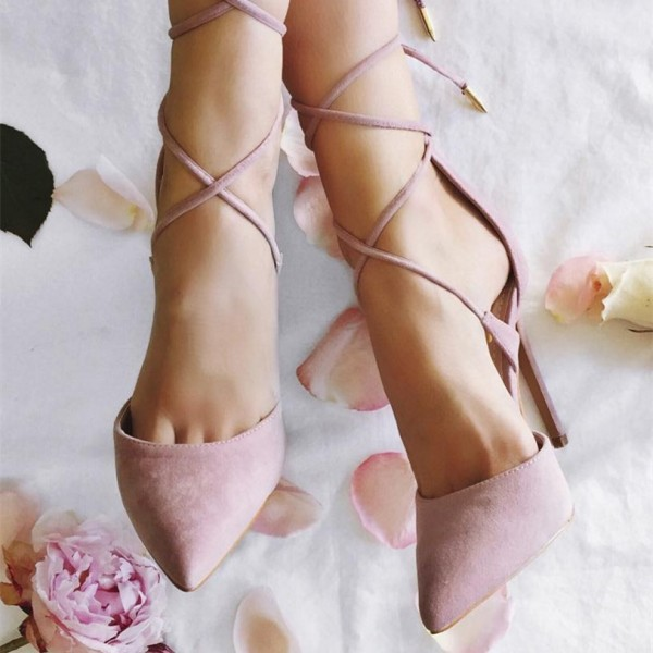 Pink Strappy Heels Pointy Toe Suede Stiletto Heel Pumps image 2
