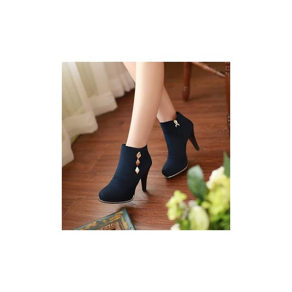 Women's Navy Metal Embelishment Pencil Heel Ankle Vintage Boots  image 1