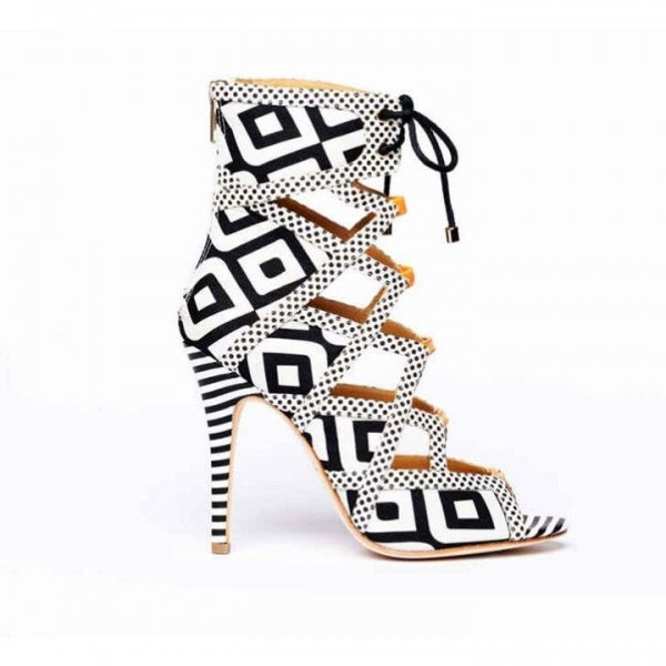 Black and White Heels Lace Up Peep Toe Strappy Sandals  image 3
