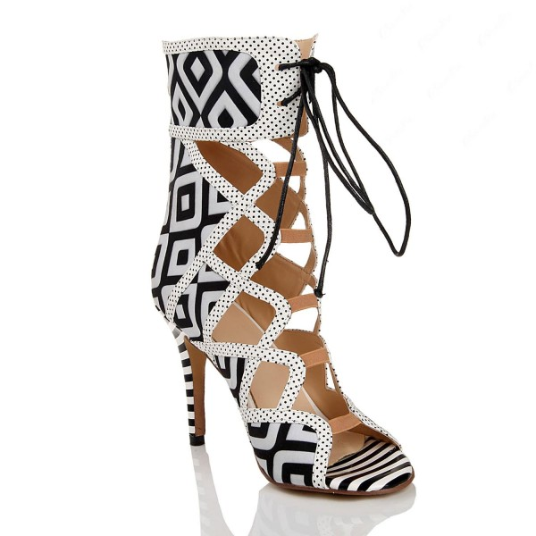 Black and White Heels Lace Up Peep Toe Strappy Sandals  image 5