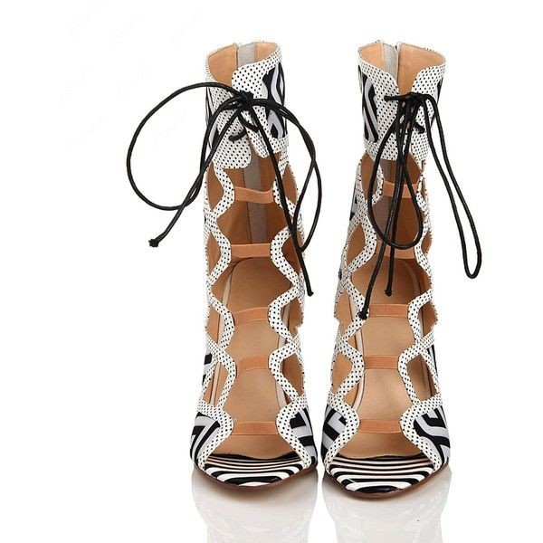Black and White Heels Lace Up Peep Toe Strappy Sandals  image 6
