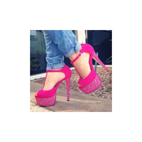 Hot Pink T Strap Sandals Sequined Peep Toe Platform Heels image 1