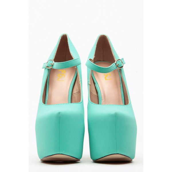 Turquoise Mary Jane Pumps Platform High Heel Shoes image 3