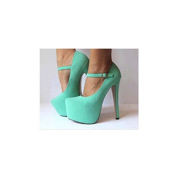Turquoise Mary Jane Pumps Platform High Heel Shoes image 2