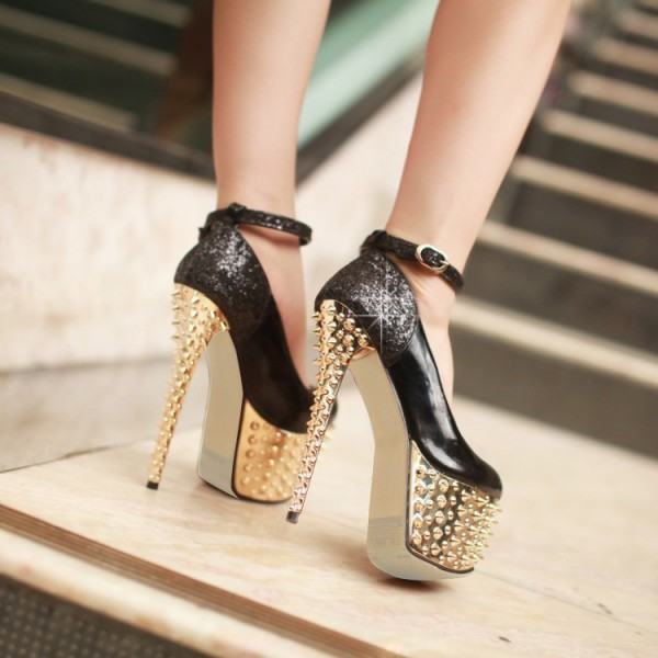 Black and Golden Platform Heels Rivets Stiletto Heel Stripper Shoes image 2