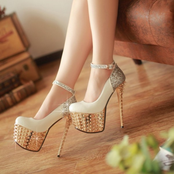 Ivory and Gold Stripper Heels Glitter Ankle Strap Platform Prom Shoes image 1