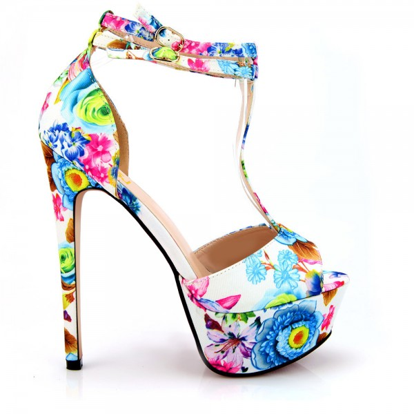 Floral Heels T Strap Peep Toe Ankle Strap Platform Sandals High Heels Shoes image 2