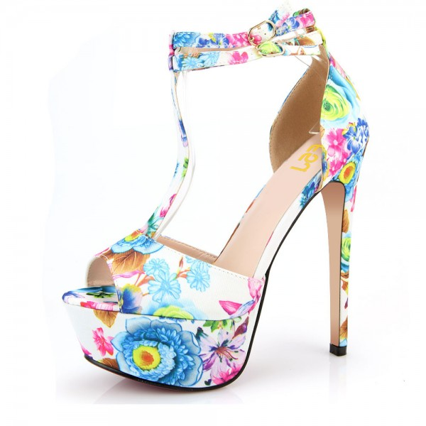 Floral Heels T Strap Peep Toe Ankle Strap Platform Sandals High Heels Shoes image 1