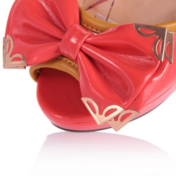 Red Cute Sandals Peep Toe Platform High Heels with Bow image 2