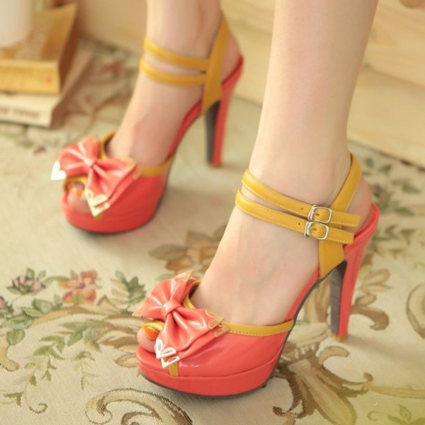 Red Cute Sandals Peep Toe Platform High Heels with Bow image 1