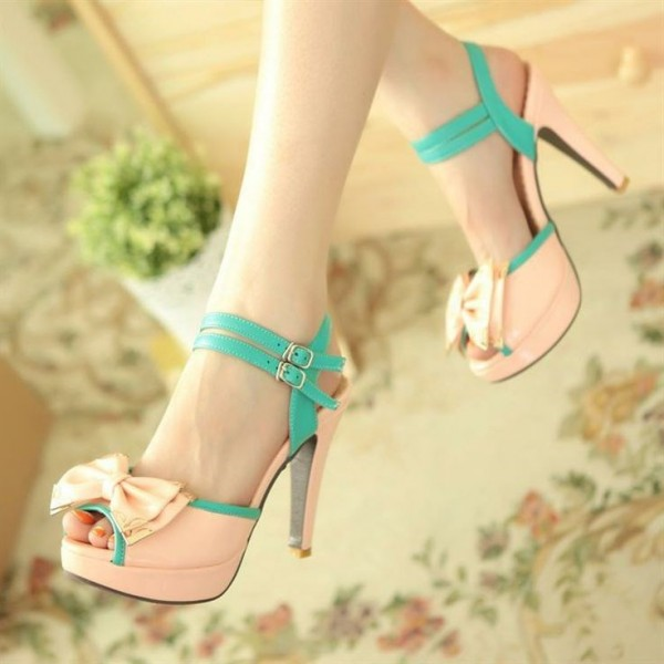 Pink Peep Toe Heels Cute Sandals with Bow image 2