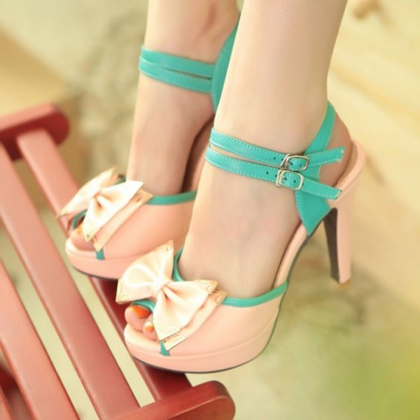 Pink Peep Toe Heels Cute Sandals with Bow image 1