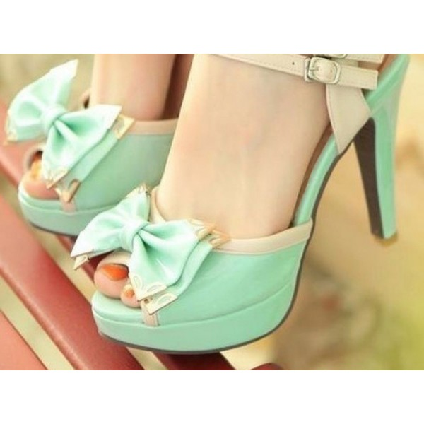 Mint Cute Sandals Peep Toe Platform High Heels with Bow image 2