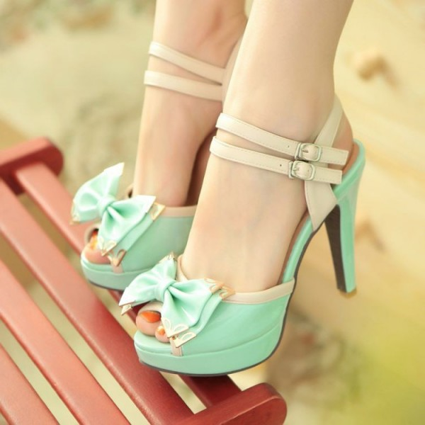 Mint Cute Sandals Peep Toe Platform High Heels with Bow image 1