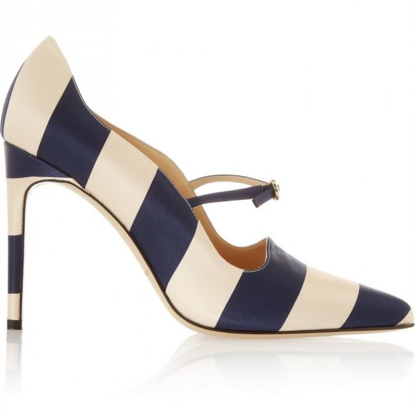 Navy and Beige Stripes 3 Inch Heels Stiletto Heel Pumps image 2