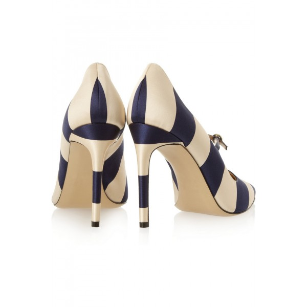 Navy and Beige Stripes 3 Inch Heels Stiletto Heel Pumps image 3
