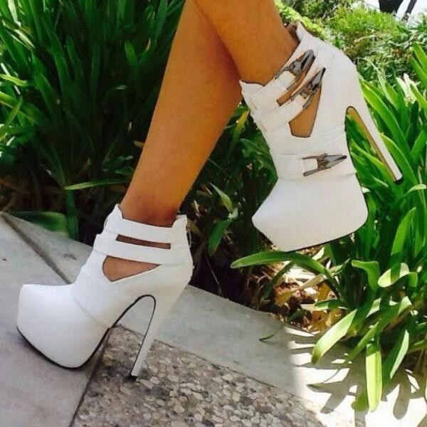 White Cut Out Boots Closed Toe Stiletto Heel Buckles Platform Boots image 1