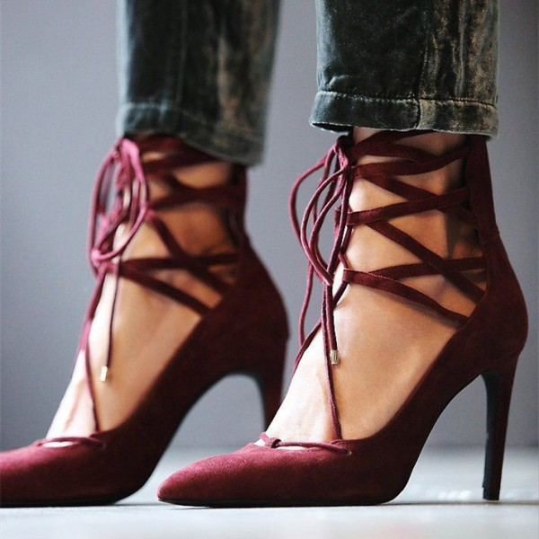 Burgundy Lace up Heels Suede Pointy Toe Strappy Pumps image 1