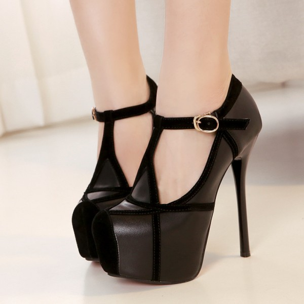 Black T Strap Pumps Platform Stilettos High Heel Shoes image 1
