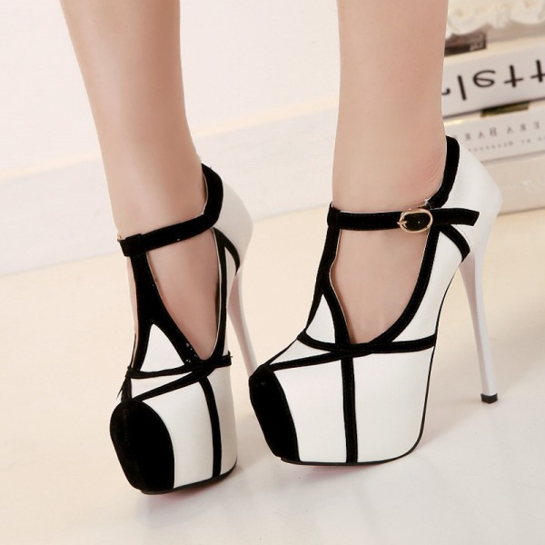 Black and White Heels T Strap Closed Toe Platform Pumps image 1